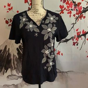 Alfred Dunner floral blue top size small